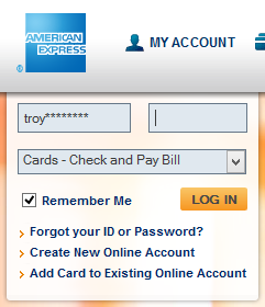 The American Express website pre-populating the username on return