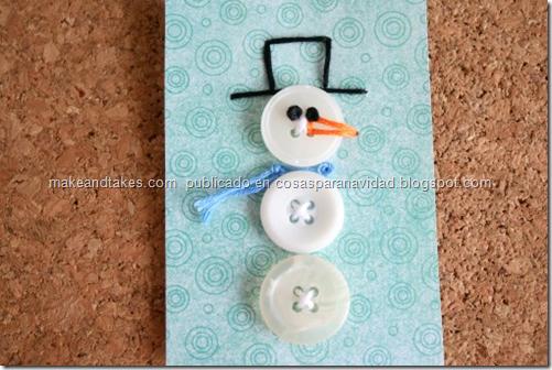 arjeta del muñeco de nieve botón