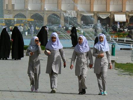 Imam square - Iranian high school girls in uniforms
