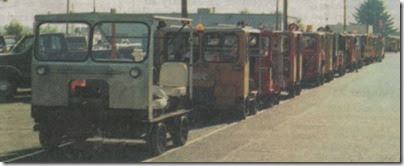 Motorcars on the Portland & Western Railroad in Rainier, Oregon in 1998
