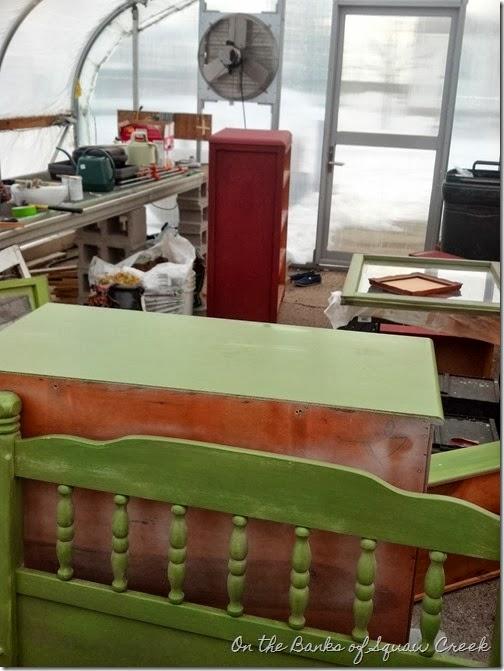 green painted headboard