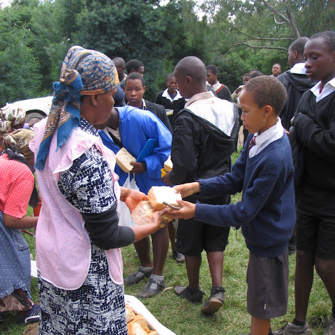 After morning lessons they are given soup with bread.
