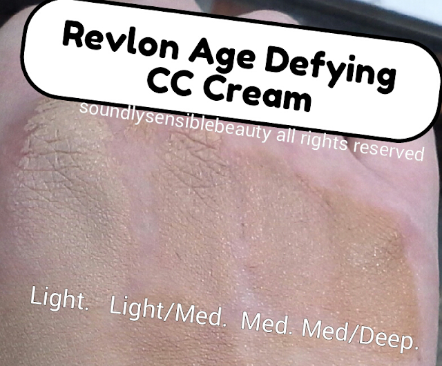 Revlon Age Defying CC Cream SPF 30, (Color Corrector) Review & Swatches of Shades. (Light, Light Medium, Medium, Medium Deep)