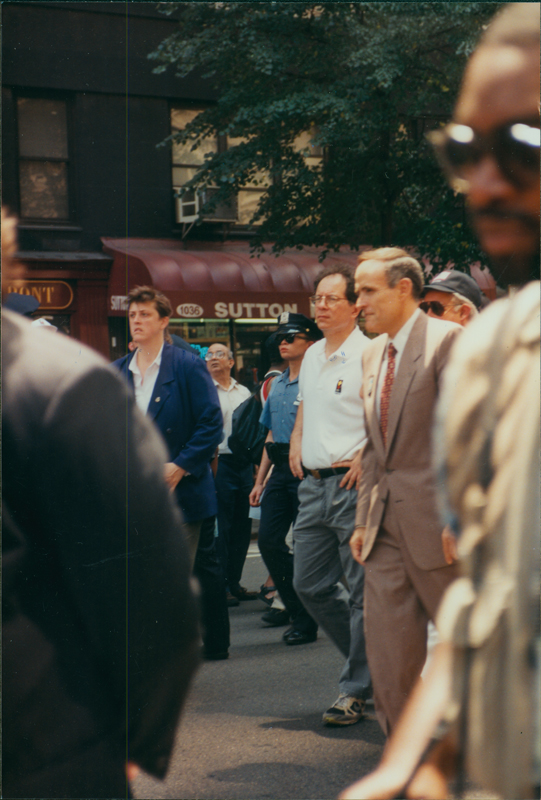 New York City Mayor Rudolph Giuliani marching at Stonewall 25 parade. June 26, 1994.