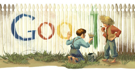 Mark Twain's 176th Birthday-Google Logo