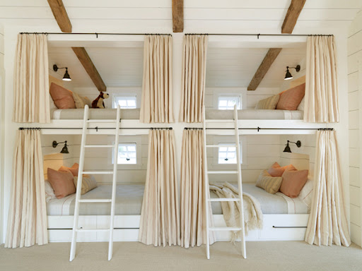 This is one of my favorite camp-inspired rooms. The designer re-vamped the conventional bunk bed in a very stylized, fashion-forward way. (melledesign.com)