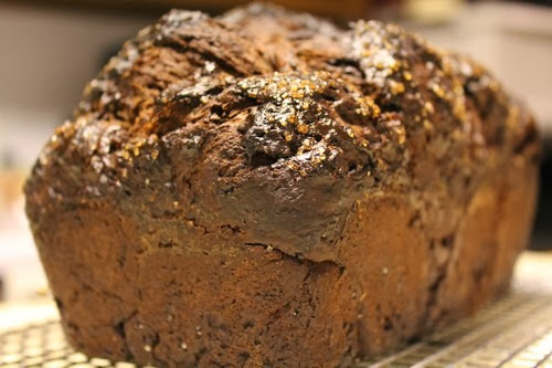 No Knead Chocolate Spelt & Prune Bread cooling