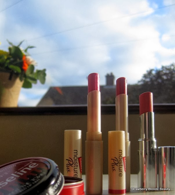 Tinted-lip-balm-Carmex-Moisture-Plus-pink-Berry-red-Chantecaille-Lip-Screen-Tint-Sardinia-spf-review