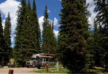 settling into the electric loop A at Falls Campground