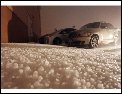 Hail covered parking lot