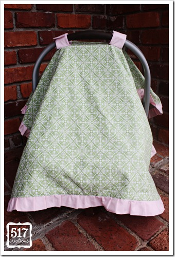 pink and green ruffle car seat canopy