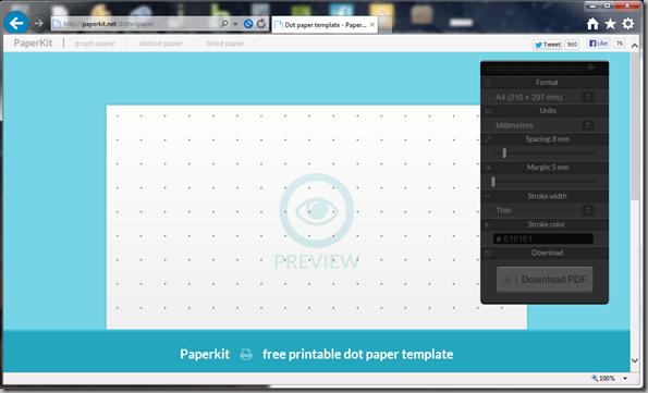 Paperkit.net dotted paper sceenshot