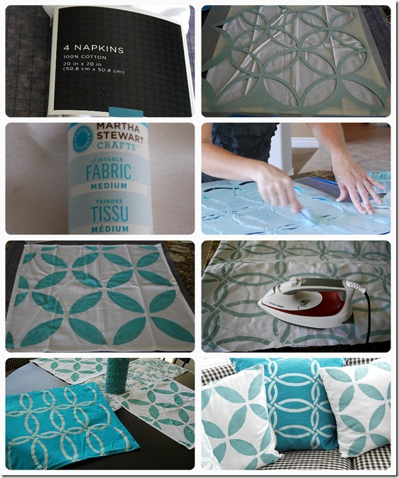 stenciled napkin pillows collage