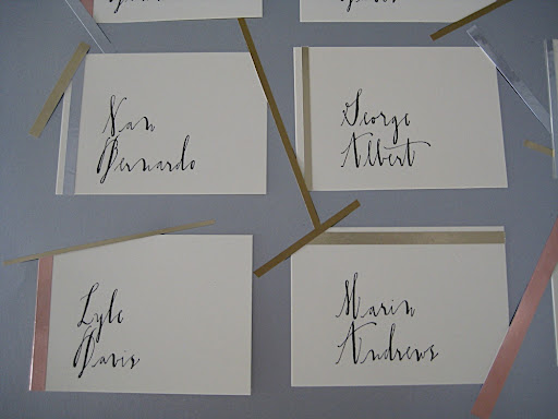 Diva from LINEA CARTA calligraphed our escort cards.