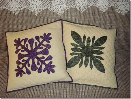 quilted cushion covers with hawain applique