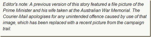 Finally get round to apologising editor's note- The Courier-Mail
