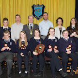 Sport awards winners at the Mulroy College prize giving on Thursday night last seated from left are Oisin McBride, John Herrity, Zoe Greene, Aoife McDevitt, Michelle Doherty, Marie Doherty and Christopher Greene. Back from left Gillian Marley, Tony McCarry, Ian McGarvey, Jason Black, Fiona Temple and Clara Giles.  Photo Clive Wasson.