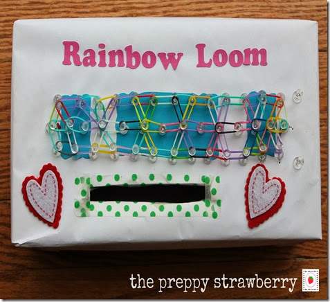 Rainbow Loom Valentines Day Box {The Preppy Strawberry}