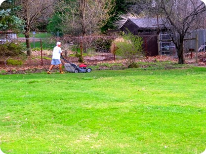 Paul mowing yard