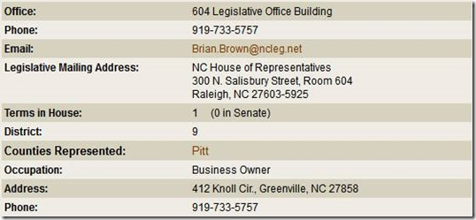 North Carolina General Assembly - Representative Brian Brown (Republican, 2013-2014 Session)_2013-05-04