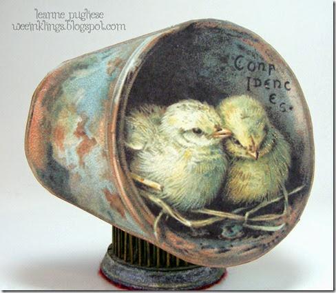 LeAnne Pugliese WeeInklings Vintage Postcard Chicks Easter Card Outside