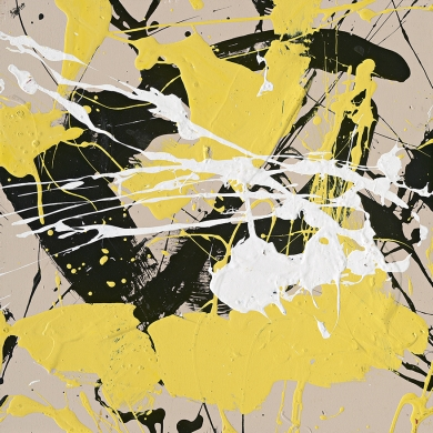 Surely a Pollock inspired work, this splatter-paint piece would add amazing energy and brightness to a white wall. 
