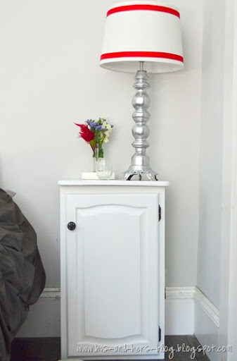 turn an old cabinet and tv tray into a nightstand