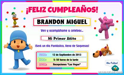 Tarjeta de Cumpleaños de POCOYO para Imprimir — Invitaciones de ...