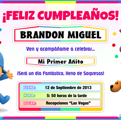 Tarjeta de Cumpleaños de POCOYO para Imprimir — Invitaciones de Fiesta Infantil