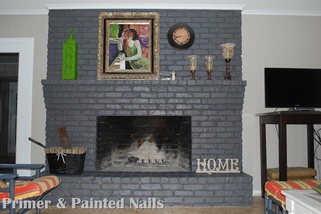 Fireplace After - Primer & Painted Nails