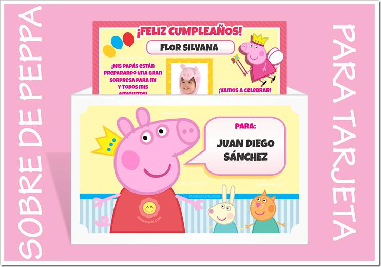 Sobre de Invitación de Peppa Pig - Pepa la cerdita, para imprimir en casa