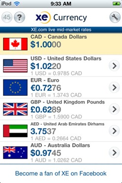 Free XE Currency Converter for iPhone