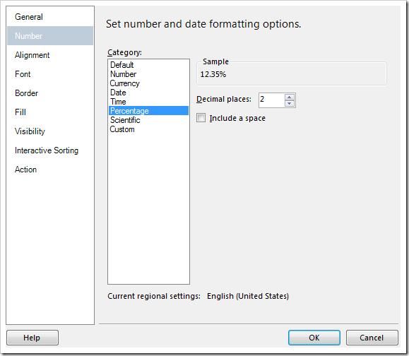 Formatting a field as a percentage.