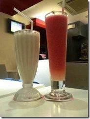 watermelon shake and vanila milk shake