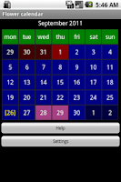Screenshot of Flower calendar