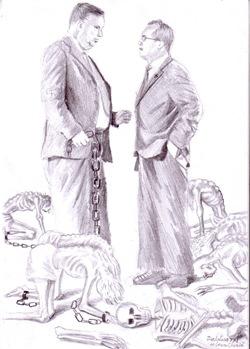 Dictatura FMI Jefffrey Franks si Emil boc - Tiranii - Desen in creion