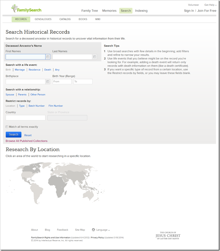 Responsive web design of FamilySearch.org causes elements to shift in a sometimes confusing fashion