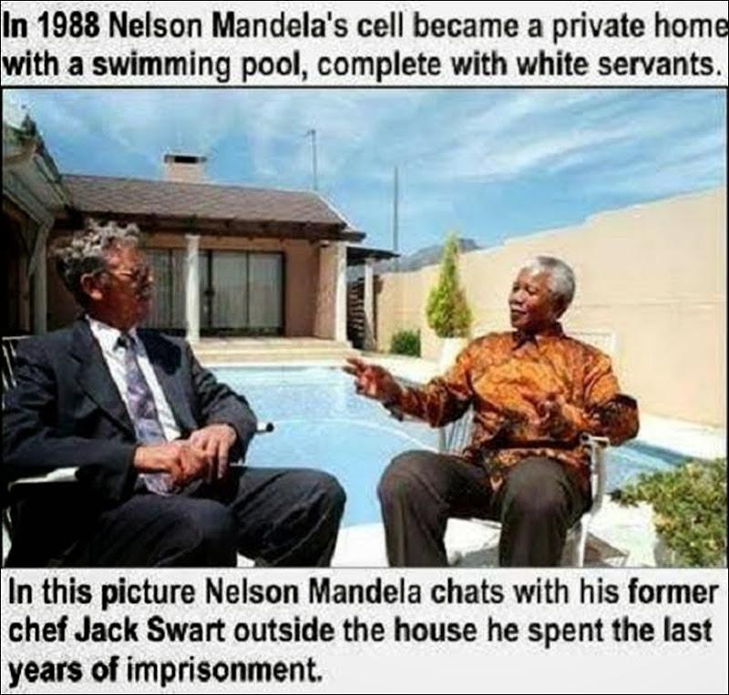 MandelaAndFormerChefJackSwartOutsideVictorVersterPrisonHouseHeLivedInfrom1980untilHisRelease