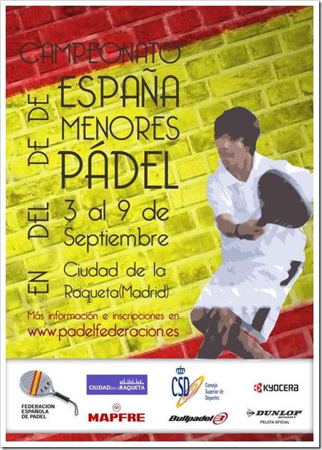 Campeonato de España Menores de Pádel del 3 al 9 de septiembre 2012 en Madrid.