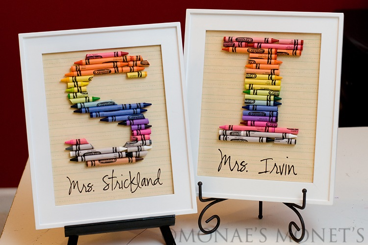 White frame crayon teacher gift blog