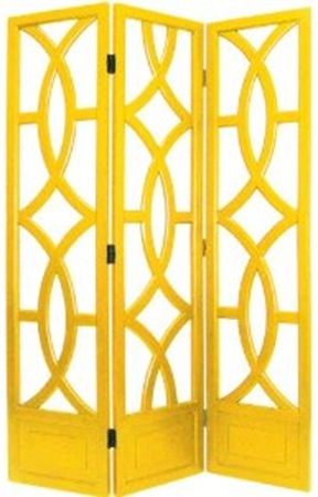 yellow wood decorative folding screen