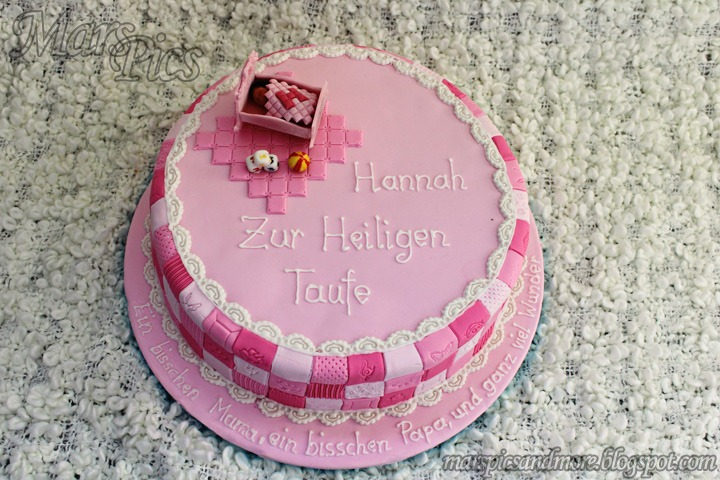 Baby girl baptism cake, decorated using patchwork cutters