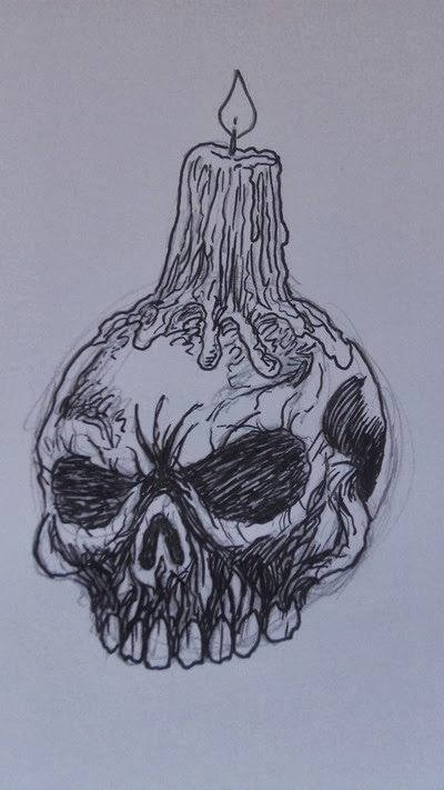 candle skull drawing 9
