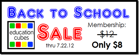 Education Cubes Sale through 7.22.12