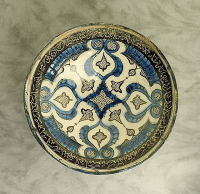 Bowl Iran, Kashan Bowl, 13th century Ceramic; Vessel, Fritware, underglaze-painted, 4 1/2 x 8 in. (11.43 x 20.32 cm) The Nasli M. Heeramaneck Collection, gift of Joan Palevsky (M.73.5.255) Art of the Middle East: Islamic Department.