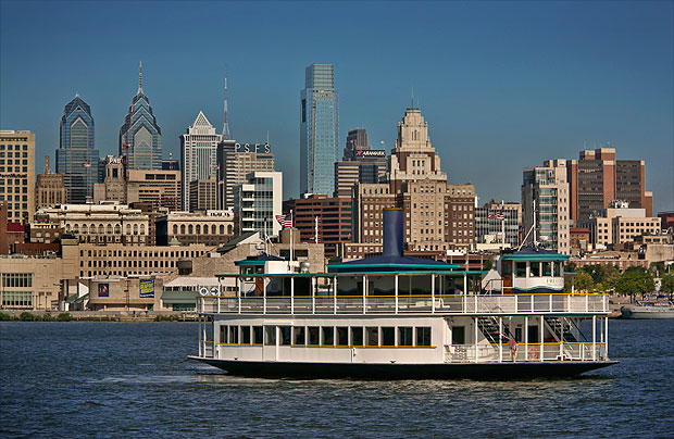 A ferry sails by the Philadelphia waterfront. G. Widman for GPTMC