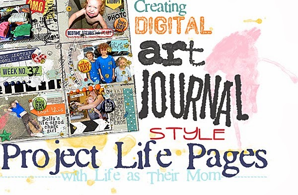 creating digital art journal project life page - life as their mom