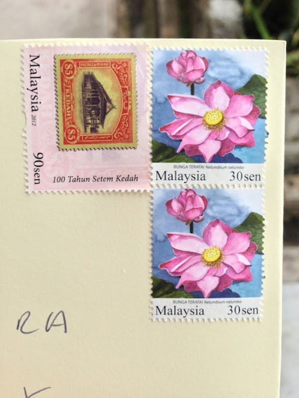 Malaysian Stamps - cost to send a card to the UK RM1.50 (about 30 p UK, or 45 US cents)