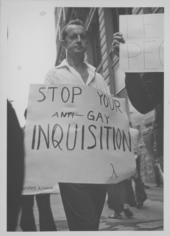 Bob Milne, former president of the Mattachine Society of New York, attends a Gay Activists Alliance (GAA) protest regarding a separation of church and state. August 28, 1974.