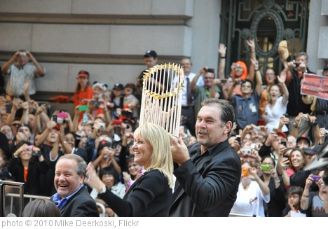 'Bruce Bochy Holding Up the Commissioner's Trophy' photo (c) 2010, Mike Deerkoski - license: http://creativecommons.org/licenses/by-sa/2.0/